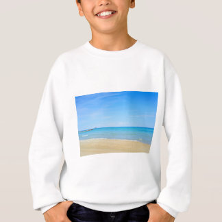 Sandy beach and blue Mediterranean sea Sweatshirt