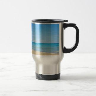 Sandy beach and blue Mediterranean sea Travel Mug