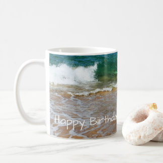 Sandy Beach and Waves Happy Birthday Mug