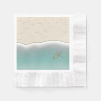 Sandy Beach Bird Footprints Paper Cocktail Napkins Disposable Serviette