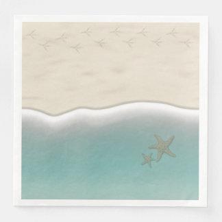 Sandy Beach Bird Footprints Paper Dinner Napkins Paper Napkin