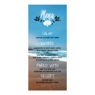 Sandy Beach Blue Wedding Menu Cards Custom Rack Card