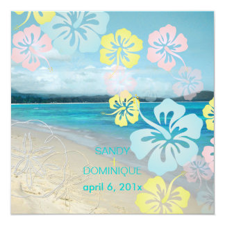 Sandy beach/hibiscus destination wedding card