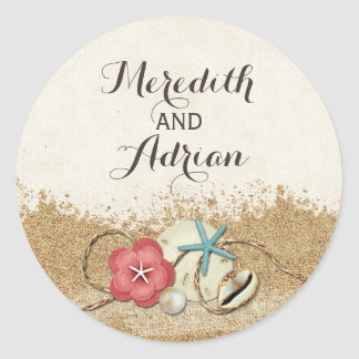 Sandy Beach Hibiscus & Shells Wedding Personalized Classic Round Sticker