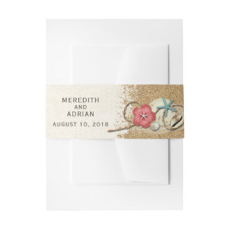 Sandy Beach Hibiscus & Shells Wedding Personalized Invitation Belly Band