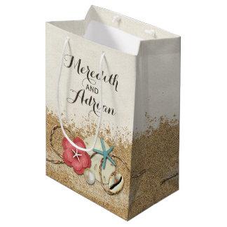 Sandy Beach Hibiscus & Shells Wedding Personalized Medium Gift Bag