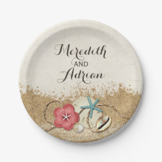 Sandy Beach Hibiscus & Shells Wedding Personalized Paper Plate