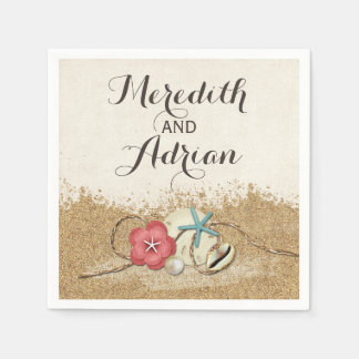 Sandy Beach Hibiscus & Shells Wedding Personalized Paper Serviettes