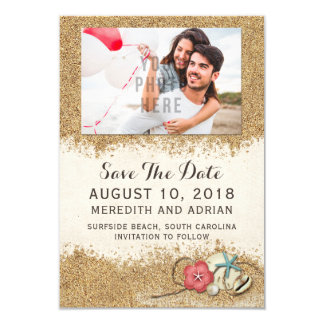 Sandy Beach Hibiscus Wedding Save The Date Photo Card