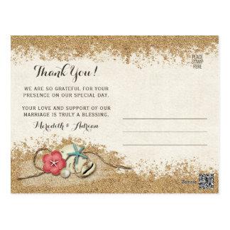 Sandy Beach Hibiscus Wedding Thank You Photo Postcard