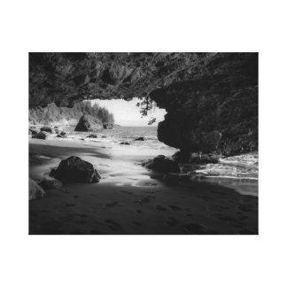 Sandy Beach Ocean Cave Canvas Print