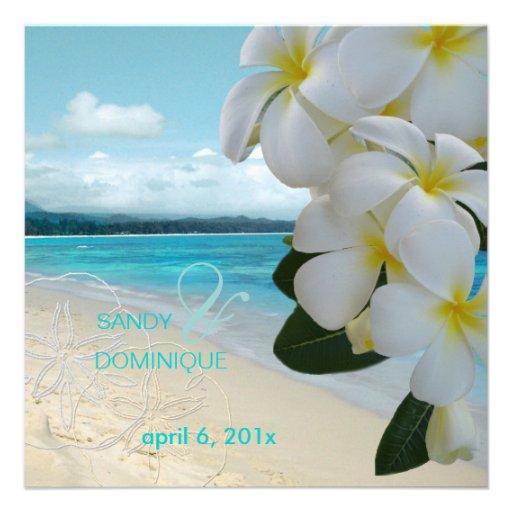 Sandy beach/plumeria destination wedding custom announcement