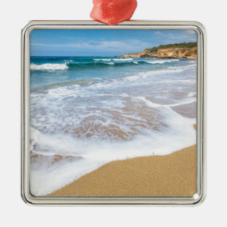 Sandy beach sea waves and mountain at coast Silver-Colored square decoration