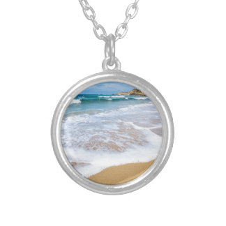 Sandy beach sea waves and mountain at coast silver plated necklace