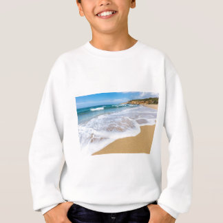 Sandy beach sea waves and mountain at coast sweatshirt