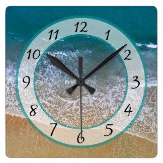 Sandy  Beach Shore Ocean Waves Clock