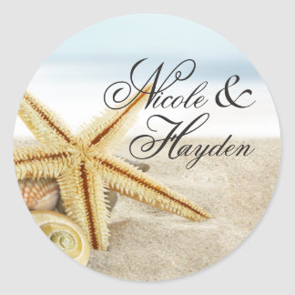 Sandy Beach Starfish Seashells Favor Classic Round Sticker