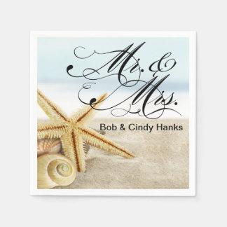 Sandy Beach Starfish Seashells Mr. & Mrs. Paper Napkin