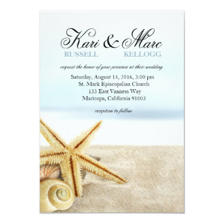 Sandy Beach Starfish Seashells Wedding Card