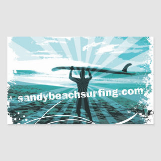 Sandy Beach Surfing Logo Rectangular Sticker