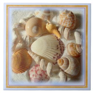 Sandy Beach, Tropical Seashells Ceramic Tile