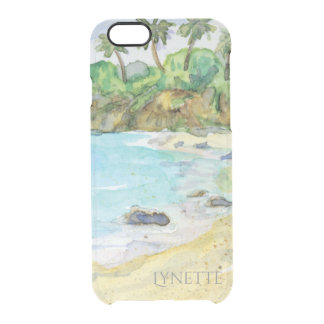 Sandy Beach Tropical Shore Ocean Waves Watercolor Clear iPhone 6/6S Case