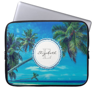 Sandy Beach with Tropical Palm Trees Monogram Laptop Computer Sleeve