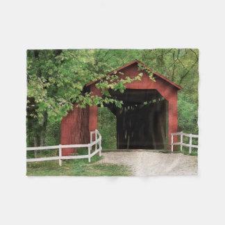 Sandy Creek Covered Bridge In Water Color Fleece Blanket