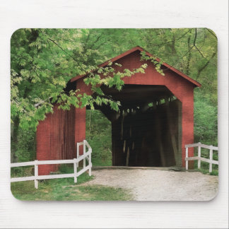 Sandy Creek Covered Bridge In Water Color Mouse Pad