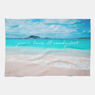 """Sandy Feet"" Blue Ocean Sandy Beach Photo Kitchen Tea Towel"