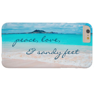 """""""Sandy Feet"""" Quote Blue Ocean & Sandy Beach Photo Barely There iPhone 6 Plus Case"""