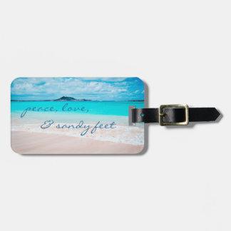 """Sandy Feet"" Quote Blue Ocean & Sandy Beach Photo Luggage Tag"