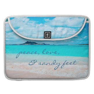"""Sandy Feet"" Quote Blue Ocean & Sandy Beach Photo Sleeve For MacBooks"
