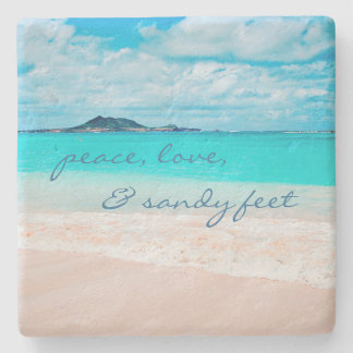 """Sandy Feet"" Quote Blue Ocean & Sandy Beach Photo Stone Coaster"