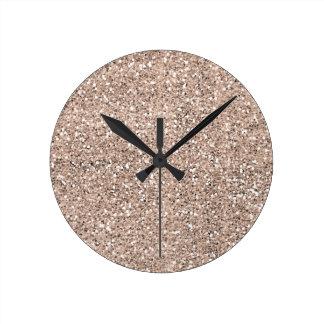 Sandy Glitter Effect Round Clock