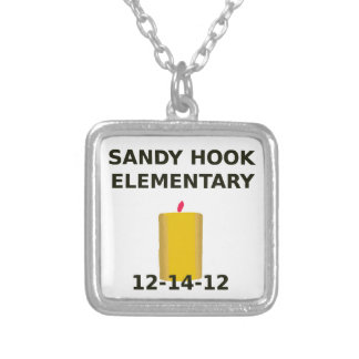 SANDY HOOK ELEMENTARY CANDLE SILVER PLATED NECKLACE