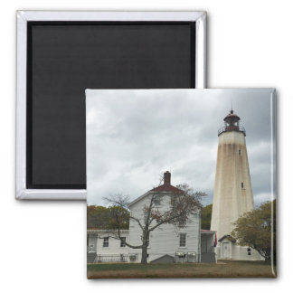 Sandy Hook Lighthouse Square Magnet