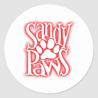 sandy paws classic round sticker
