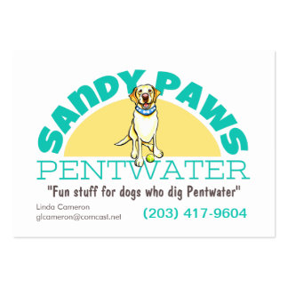 Sandy Paws Pet Business Logo Large Business Cards (Pack Of 100)
