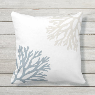 Sandy Sea Coral Silhouettes Outdoor Cushion