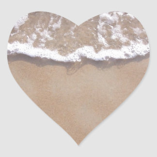 Sandy Surf on the Beach Heart Sticker