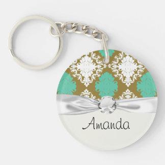 sandy tan and aqua diamond damask pattern round acrylic key chains