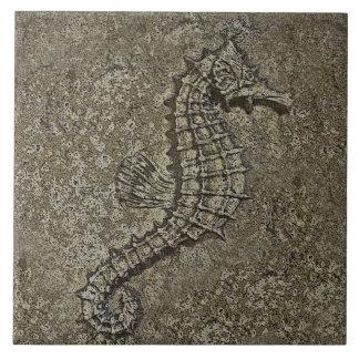 Sandy Textured Seahorse Photograph Large Square Tile