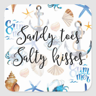 Sandy Toes & Salty Kisses Square Sticker