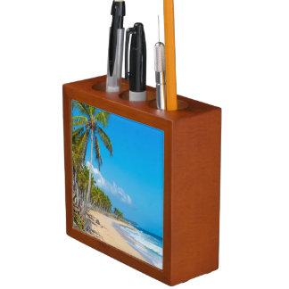 Sandy tropical beach, blue skies, ocean waves desk organiser