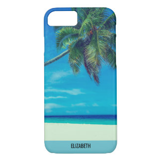 Sandy White Beach with Tropical Palm Trees iPhone 7 Case
