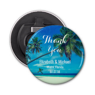 Sandy White Beach with Tropical Palm Trees Wedding Bottle Opener