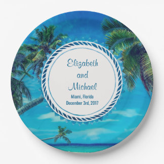 Sandy White Beach with Tropical Palm Trees Wedding Paper Plate