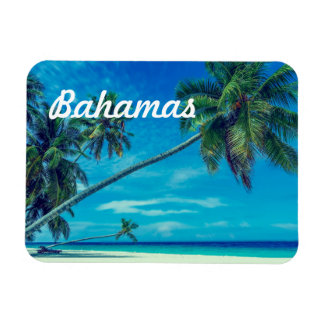Sandy White Beach with Tropical Palms Bahamas Magnet