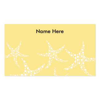 Sandy Yellow and White Starfish Pattern. Double-Sided Standard Business Cards (Pack Of 100)